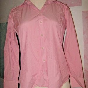 Pink White Stripe Collared Long Sleeve Button Top